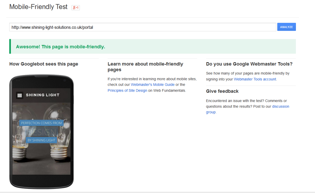 google-mobile-test-shining-light